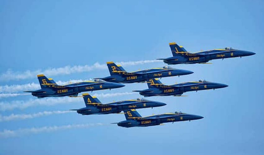 Wantagh, New York, USA - May 25, 2014: The Blue Angels fly five F/A-18 Hornet Aircraft at the 11th Annual Jones Beach Air Show Sponsored by the Bethpage Federal Credit Union.
